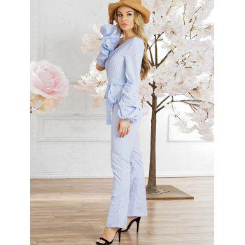 Cutout Striped Jumpsuit - BABY BLUE 2XL
