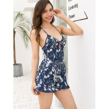 Floral Bandeau Backless Romper - MIDNIGHT BLUE S