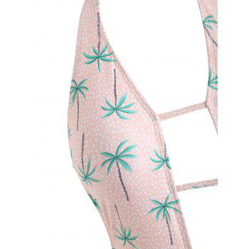 Backless Coconut Trees Low Cut Swimsuit - LIGHT PINK S