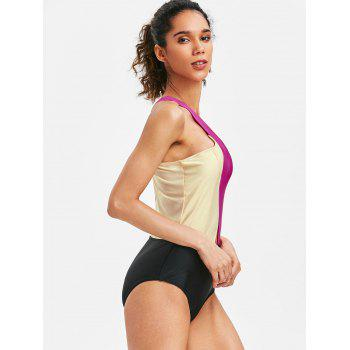 Backless Color Block Cross Swimsuit - ROSE RED M