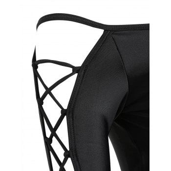 Lace-up Long Sleeve Swimsuit - BLACK S