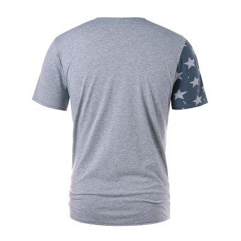 Color Block American Flag Print T-shirt - GRAY L