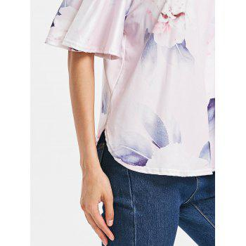 Short Sleeve Off The Shoulder Printed Top - PIG PINK M