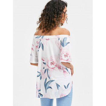 Short Sleeve Off The Shoulder Printed Top - WHITE S