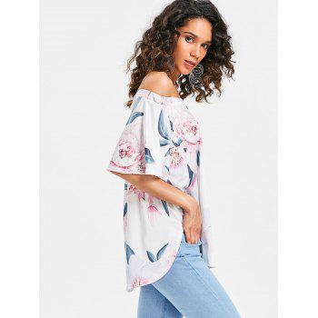 Short Sleeve Off The Shoulder Printed Top - WHITE L