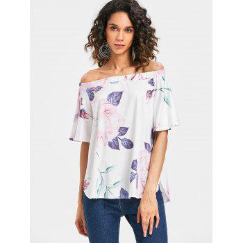 Short Sleeve Off The Shoulder Printed Top - multicolor M