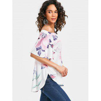 Short Sleeve Off The Shoulder Printed Top - multicolor L