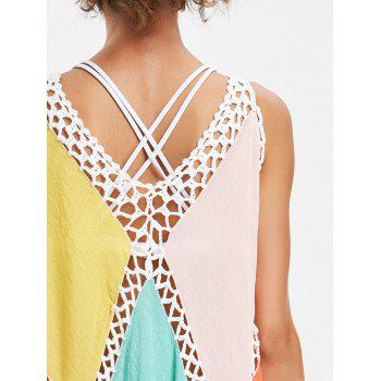 Sleeveless Color Block Fringed Cover Up - YELLOW ONE SIZE