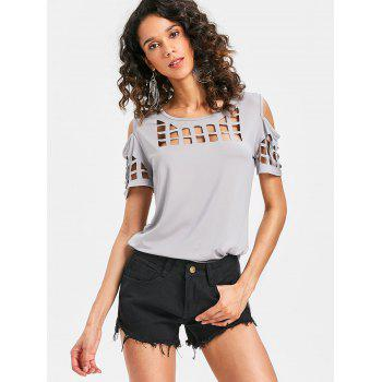 Cage Cut Out High Low Tee - LIGHT GRAY M