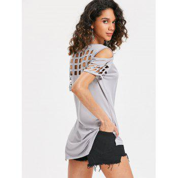 Cage Cut Out High Low Tee - LIGHT GRAY L