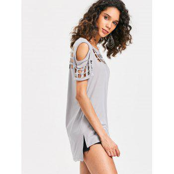 Cage Cut Out High Low Tee - LIGHT GRAY XL