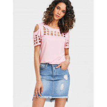 Cage Cut Out High Low Tee - PIG PINK S