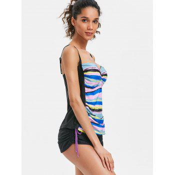 Stripe Painting Empire Waist Tankini - COLORMIX M