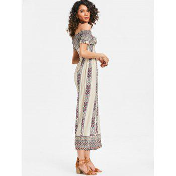 Off Shoulder Bohemian Jumpsuit - WHITE M