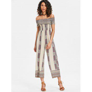 Off Shoulder Bohemian Jumpsuit - WHITE L