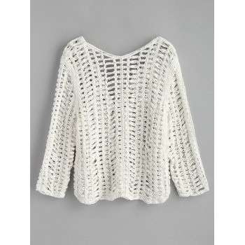 V Neck Crochet Long Sleeve Top - WHITE ONE SIZE