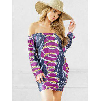 African Print Shift Dress with Sleeves - PURPLE M
