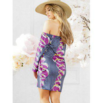 African Print Shift Dress with Sleeves - PURPLE L