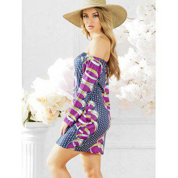 African Print Shift Dress with Sleeves - PURPLE 2XL