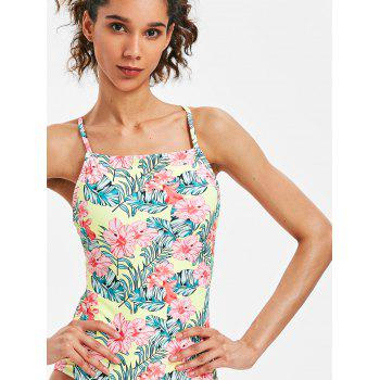 Cross Back Floral Swimsuit - CORN YELLOW XL