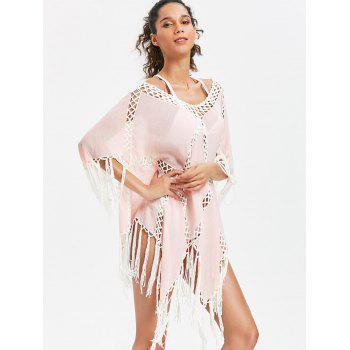 Crochet Insert Asymmetric Fringed Tunic Cover Up - LIGHT PINK ONE SIZE