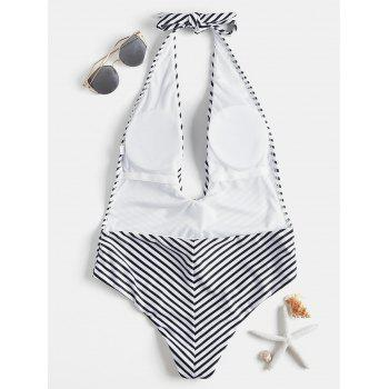 Striped Low Back One Piece Swimsuit - BLACK L