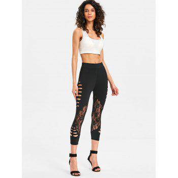 Ladder Shredding Lace Panel Leggings - BLACK XL
