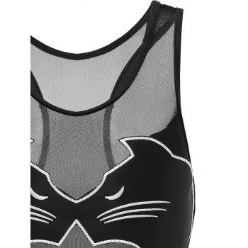 One Piece Black Cat Racerback Swimwear - BLACK S