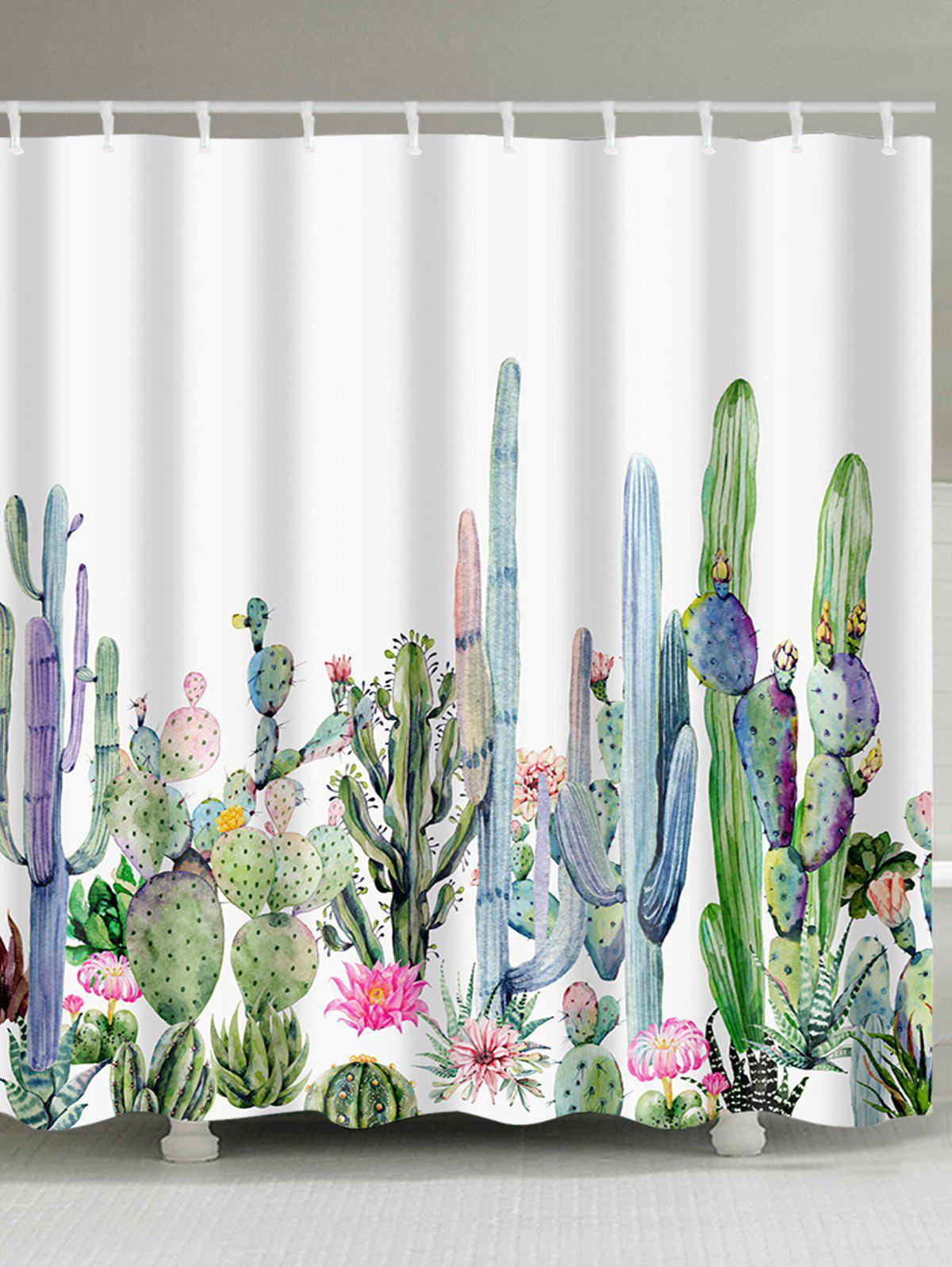 Green Plants Cactus Flowers Print Shower Curtain 2 in1 zd 06 handheld waterproof gardens plants flowers soil ph