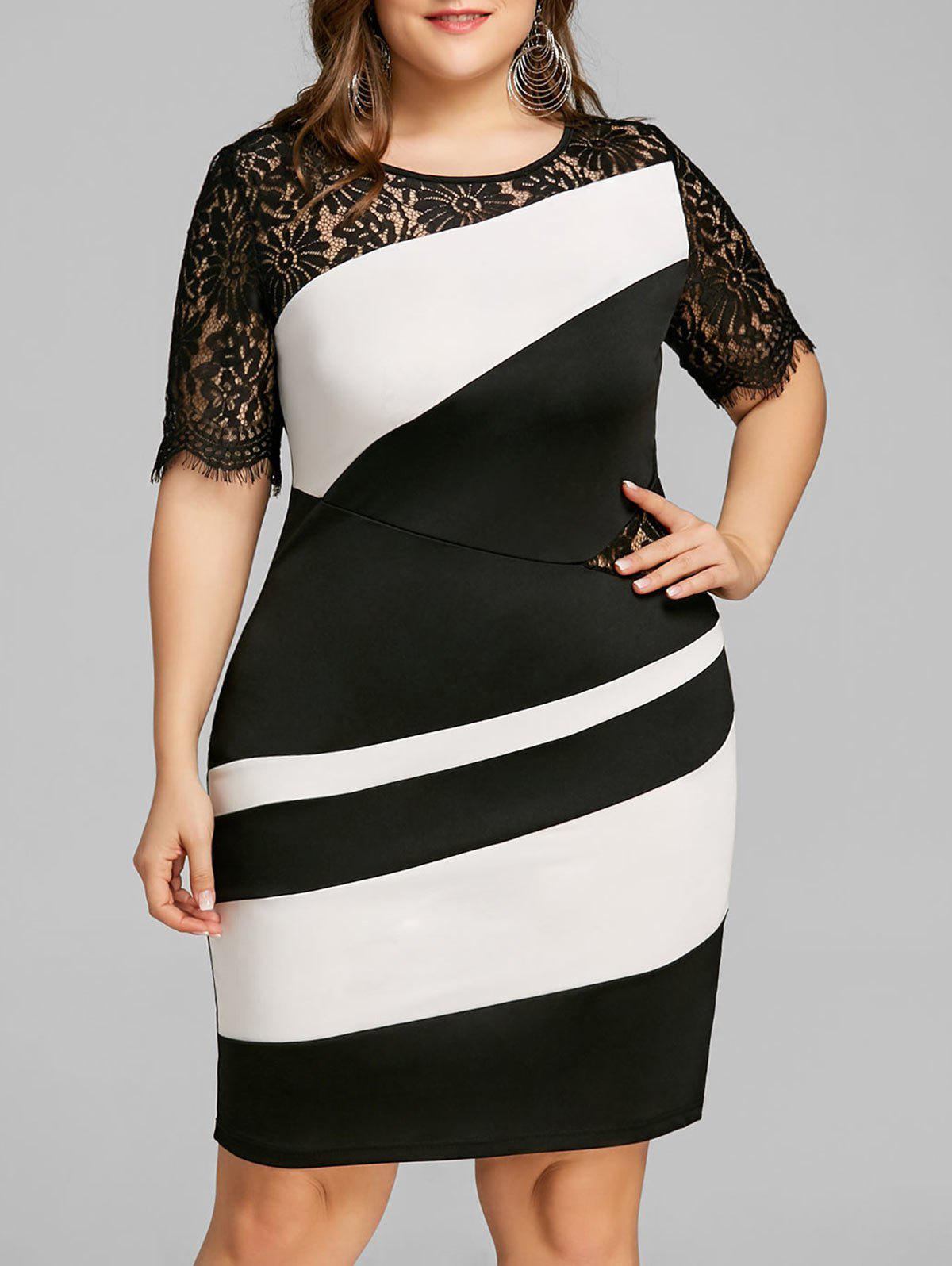 Plus Size Two Tone Lace Trim Fitted Dress two tone swing lace dress