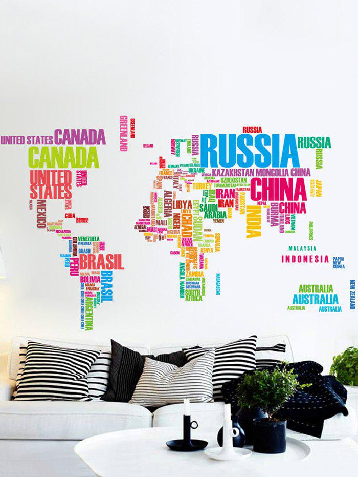 English World Map Print Removable Wall Sticker Set - multicolor
