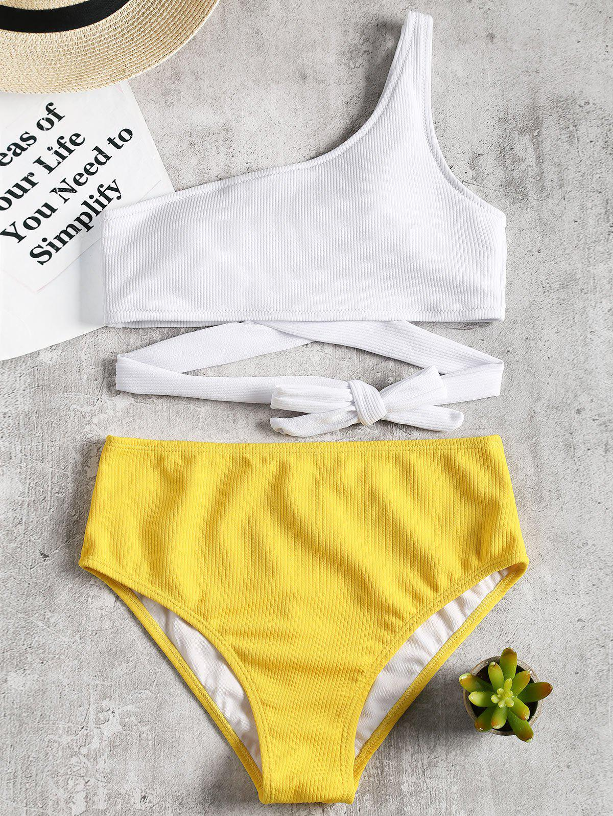 One Shoulder High Cut Two Tone Bikini - YELLOW XL
