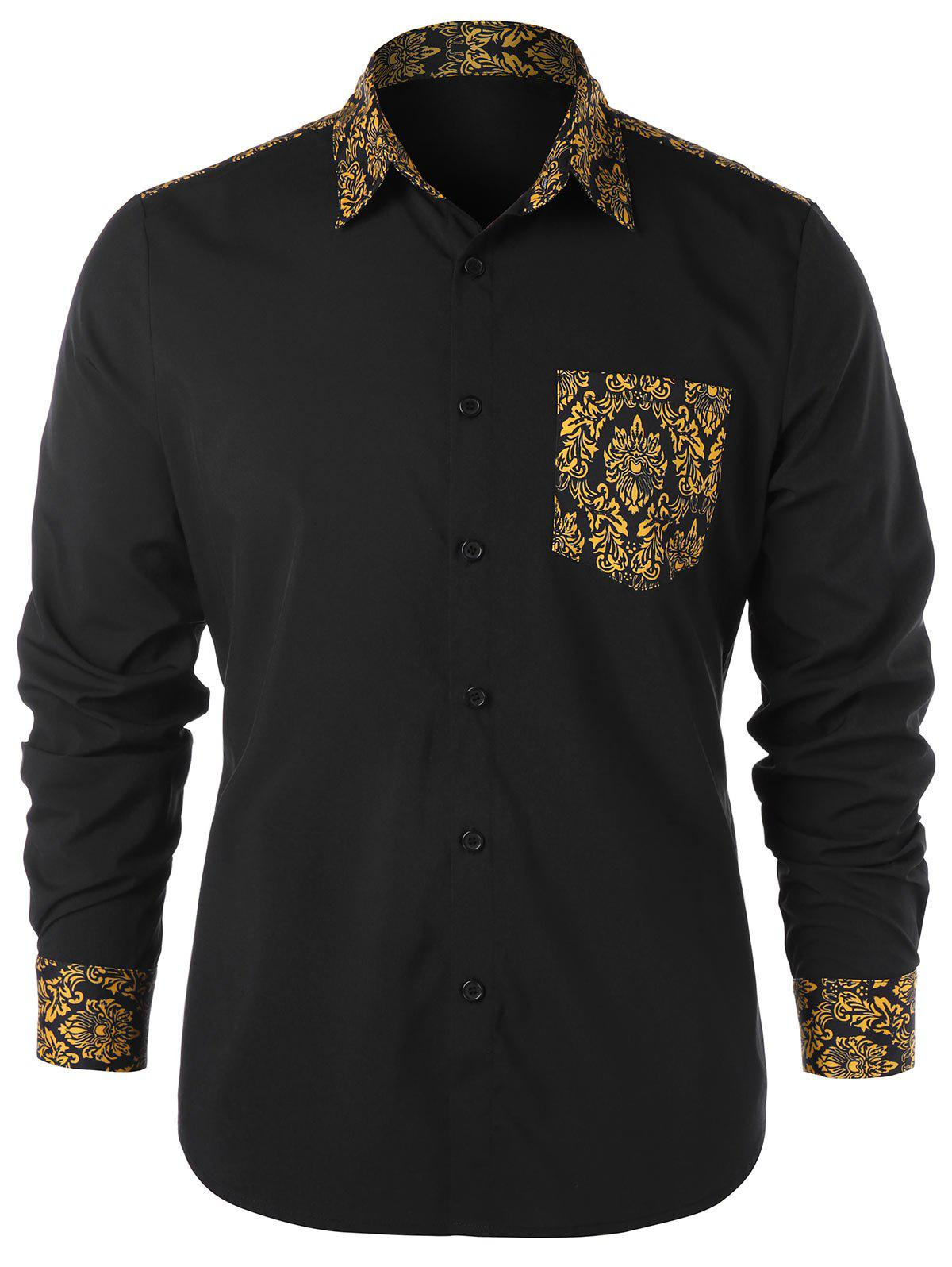Ethnic Print Pocket Shirt - BLACK 2XL