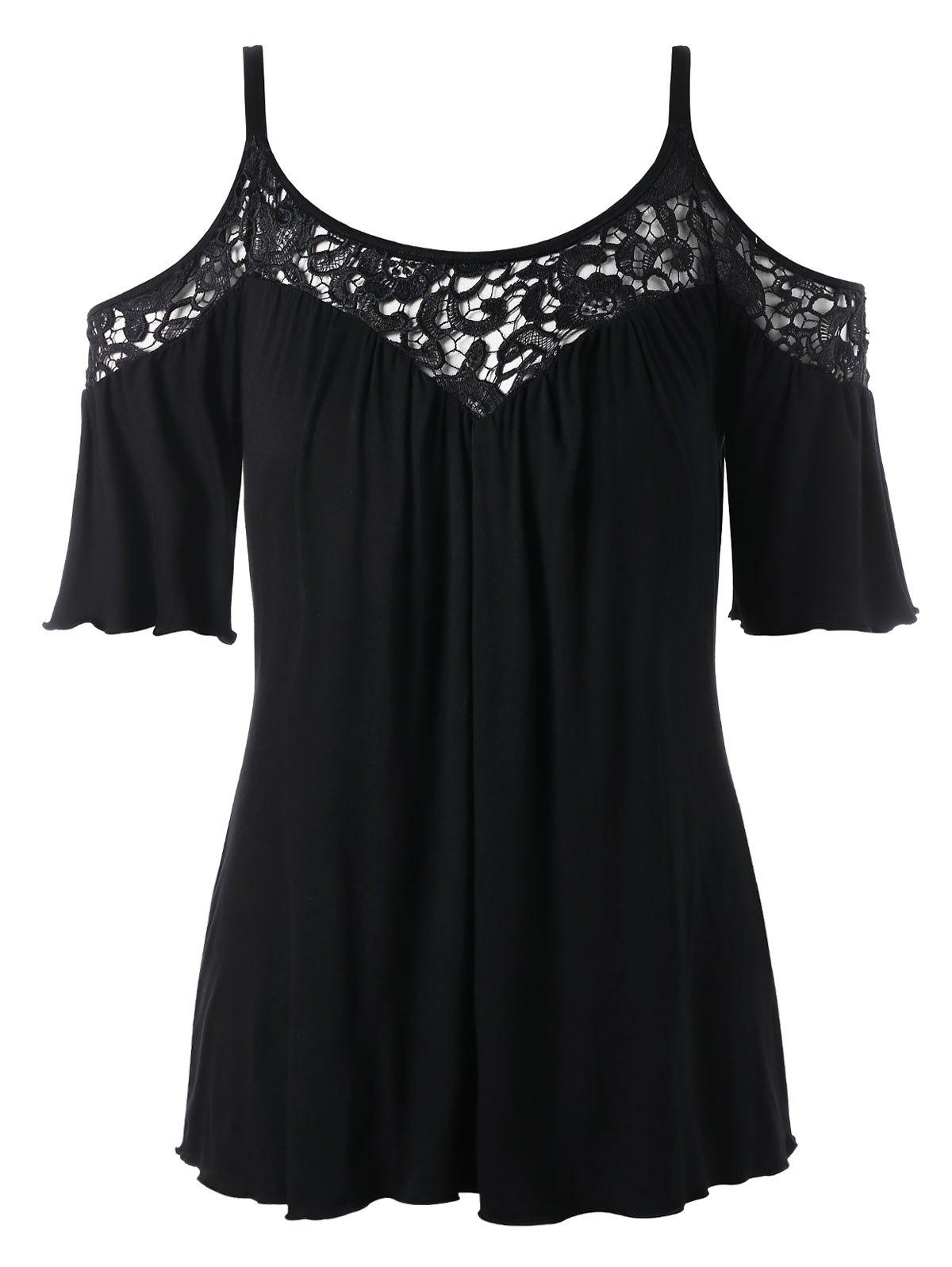 Cold Shoulder Plus Size Lace Panel Blouse - BLACK 2XL