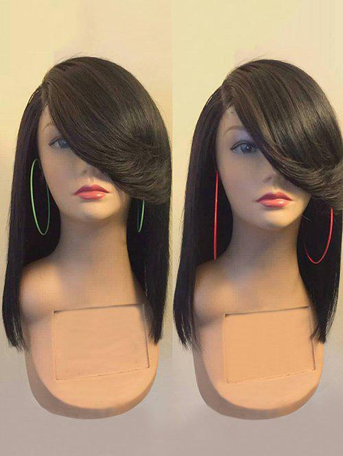 Long Side Parting Flip Straight Synthetic Wig - BLACK CAT