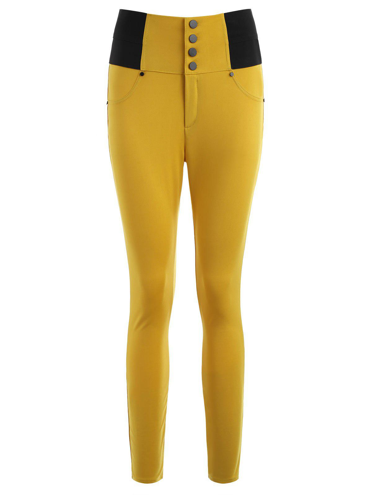 Skinny High-waisted Cigarette Pants - BEE YELLOW S