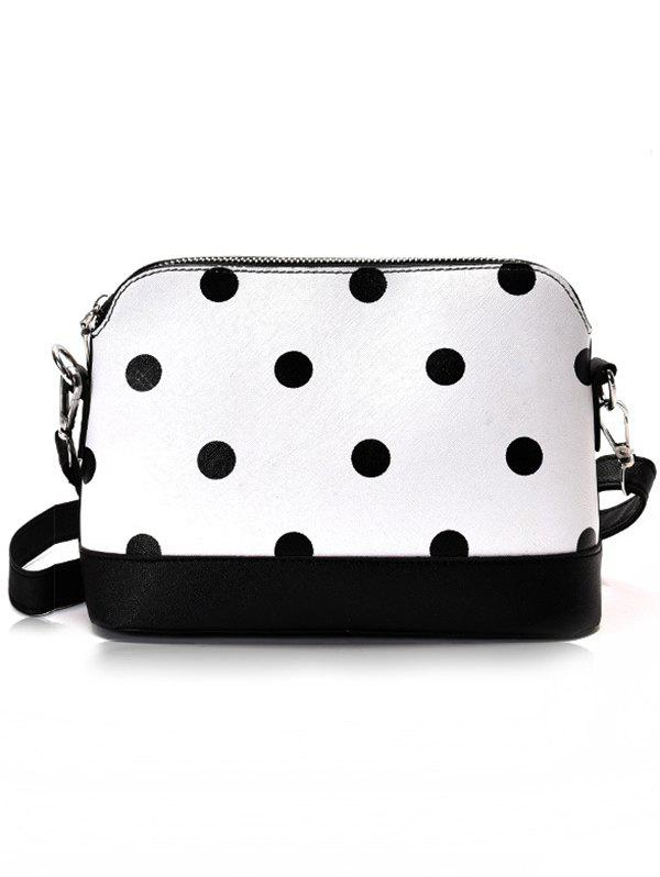 PU Leather Color Block Chic Crossbody Bag - WHITE