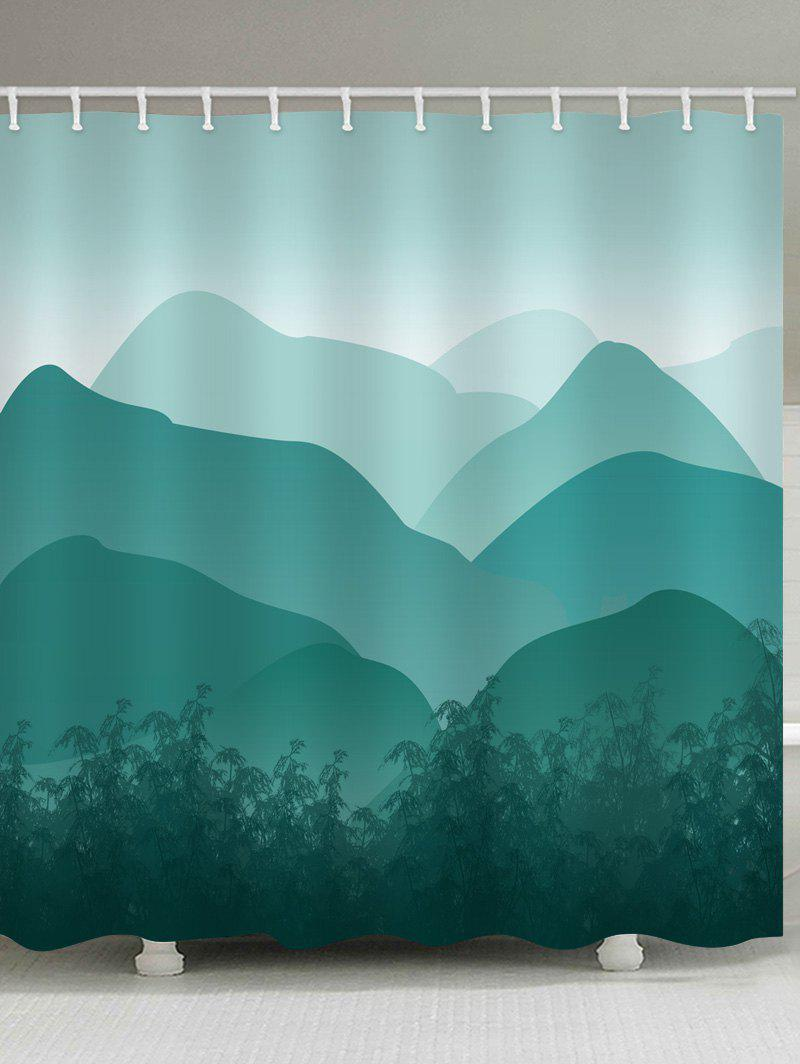 2018 Mountains Ink and Wash Pattern Shower Curtain BLUE GREEN W INCH ...