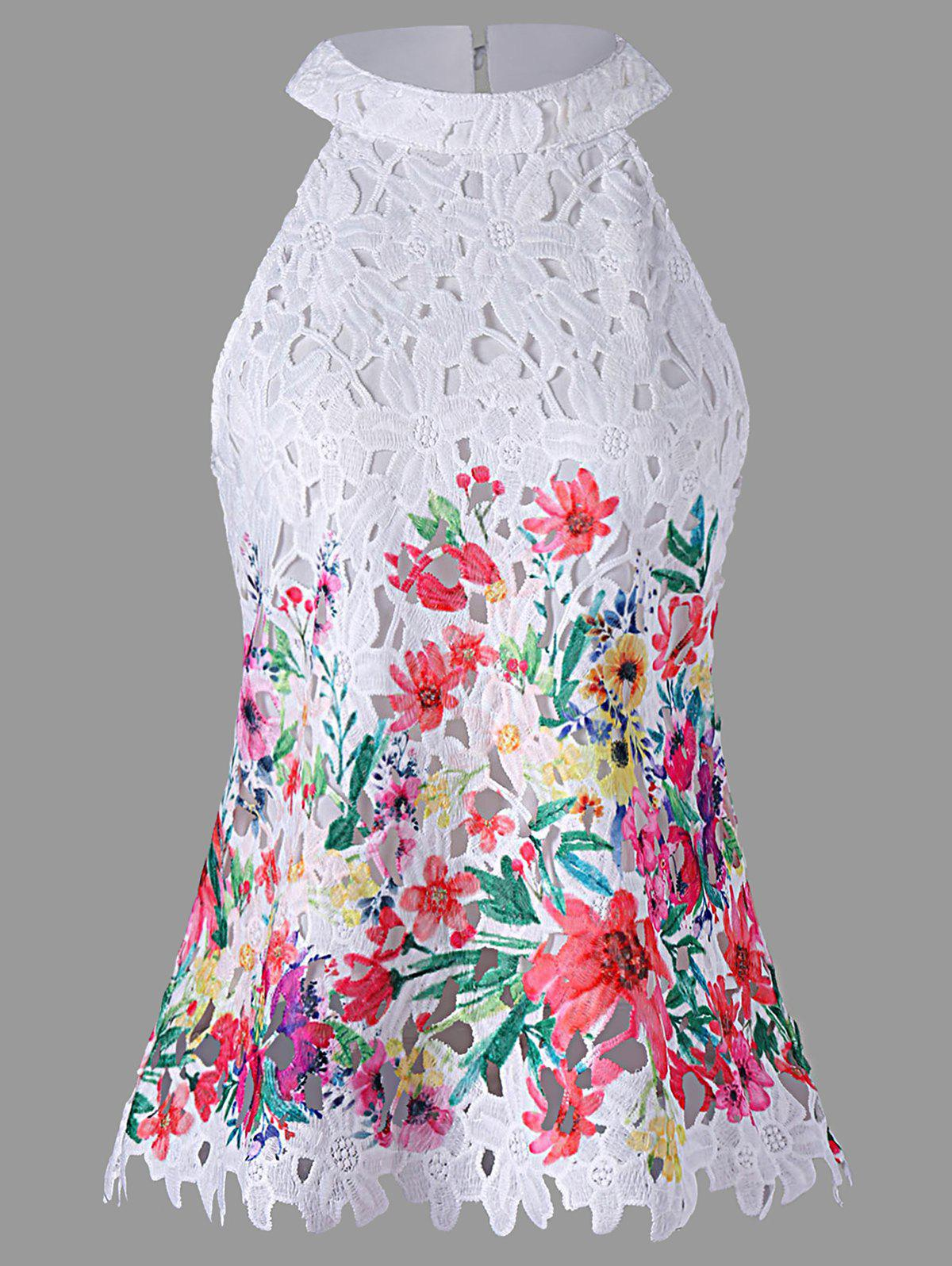 Bib Neck Cutwork Lace Tank Top - WHITE 2XL