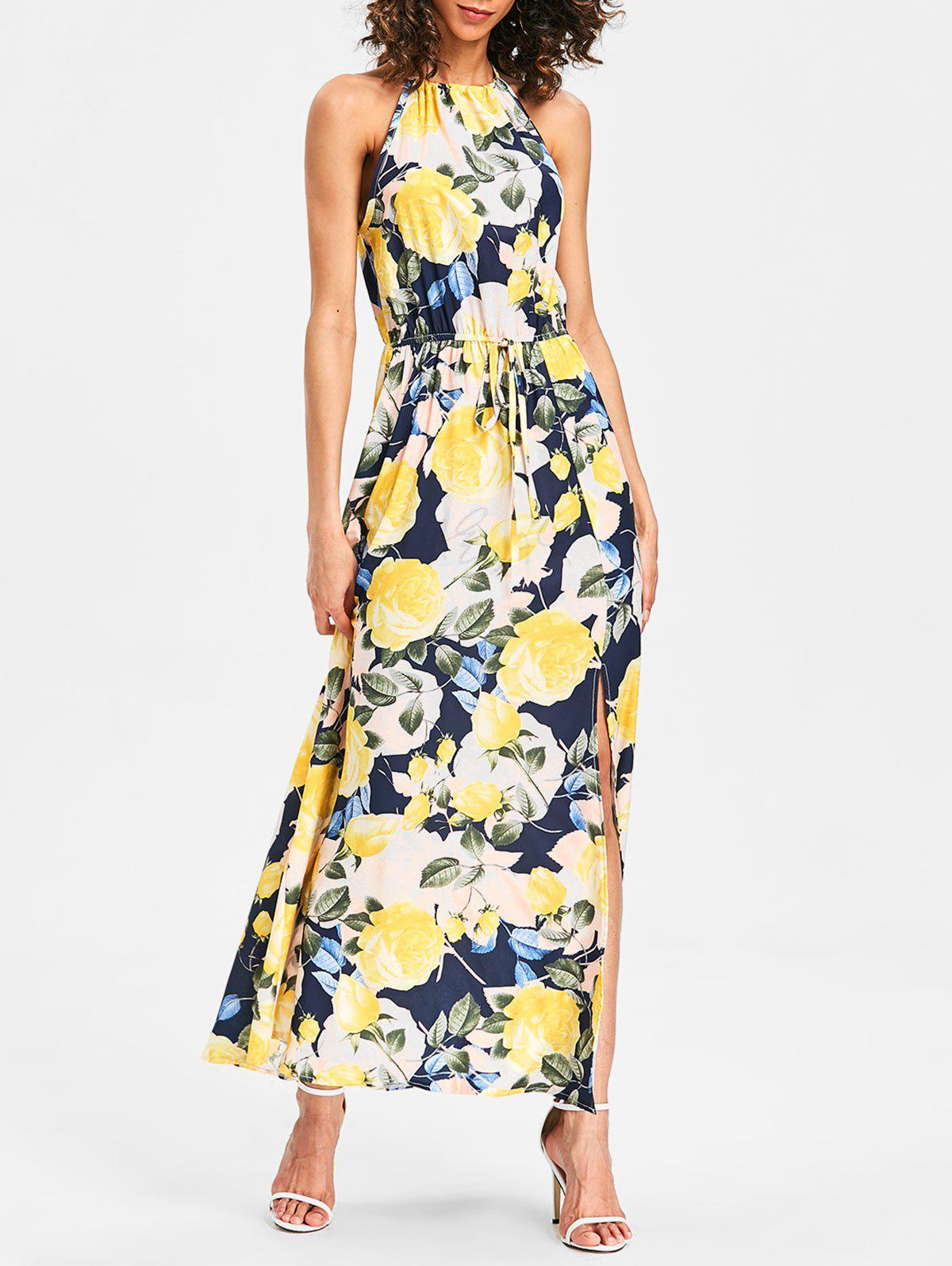 Drawstring Waist Front Slit Floral Longline Dress - multicolor S