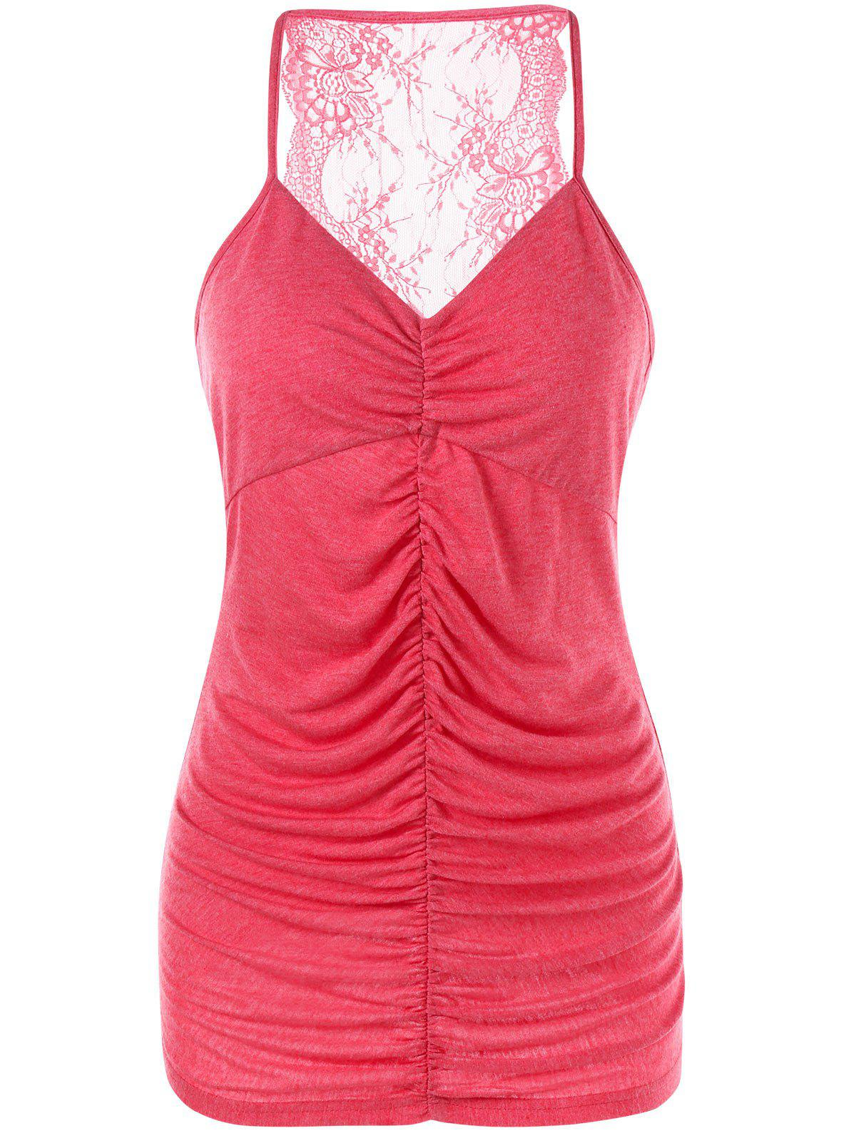 Lace Trim Empire Waist Ruched Tank Top - RED XL