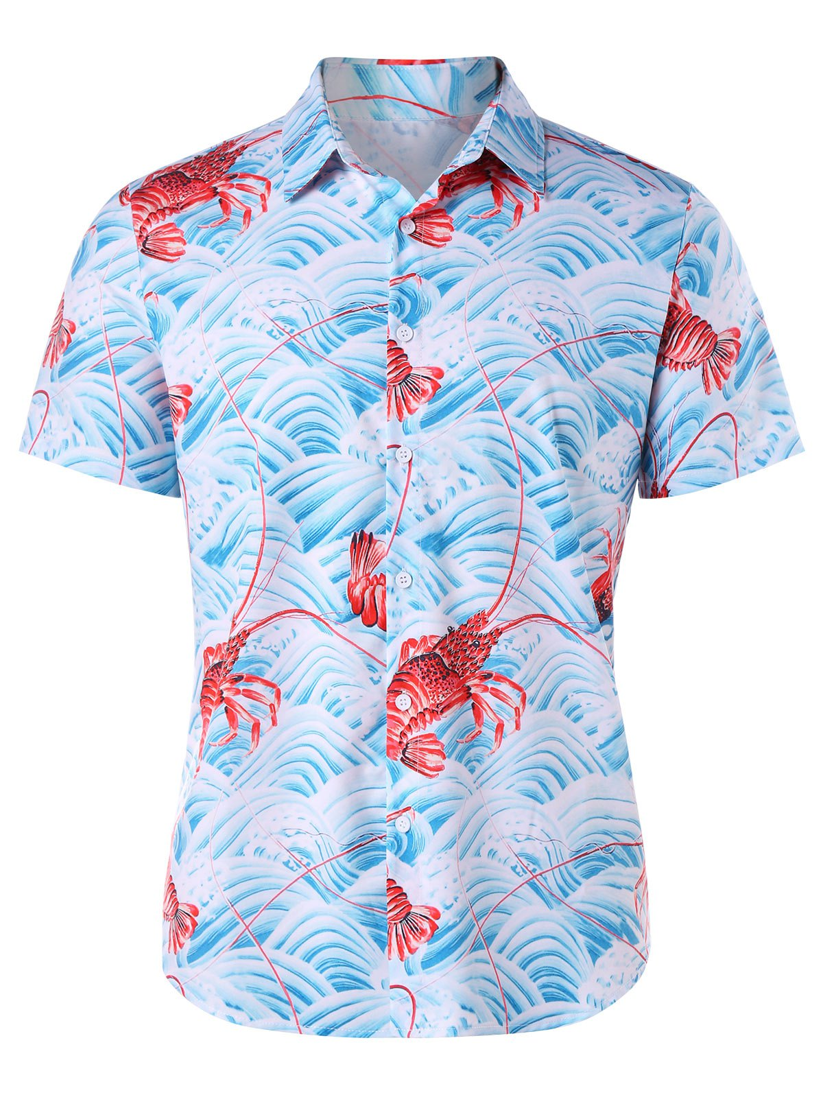 Short Sleeves Wave Lobster 3D Print Shirt