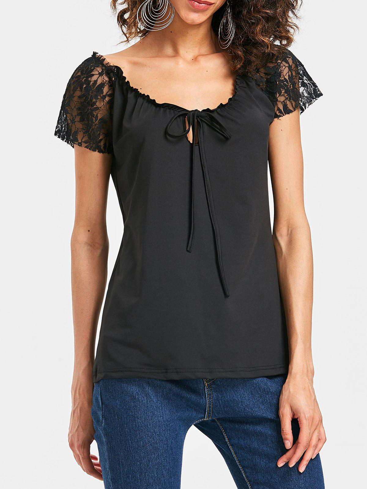 Scoop Neck Lace Insert T-shirt - BLACK 2XL