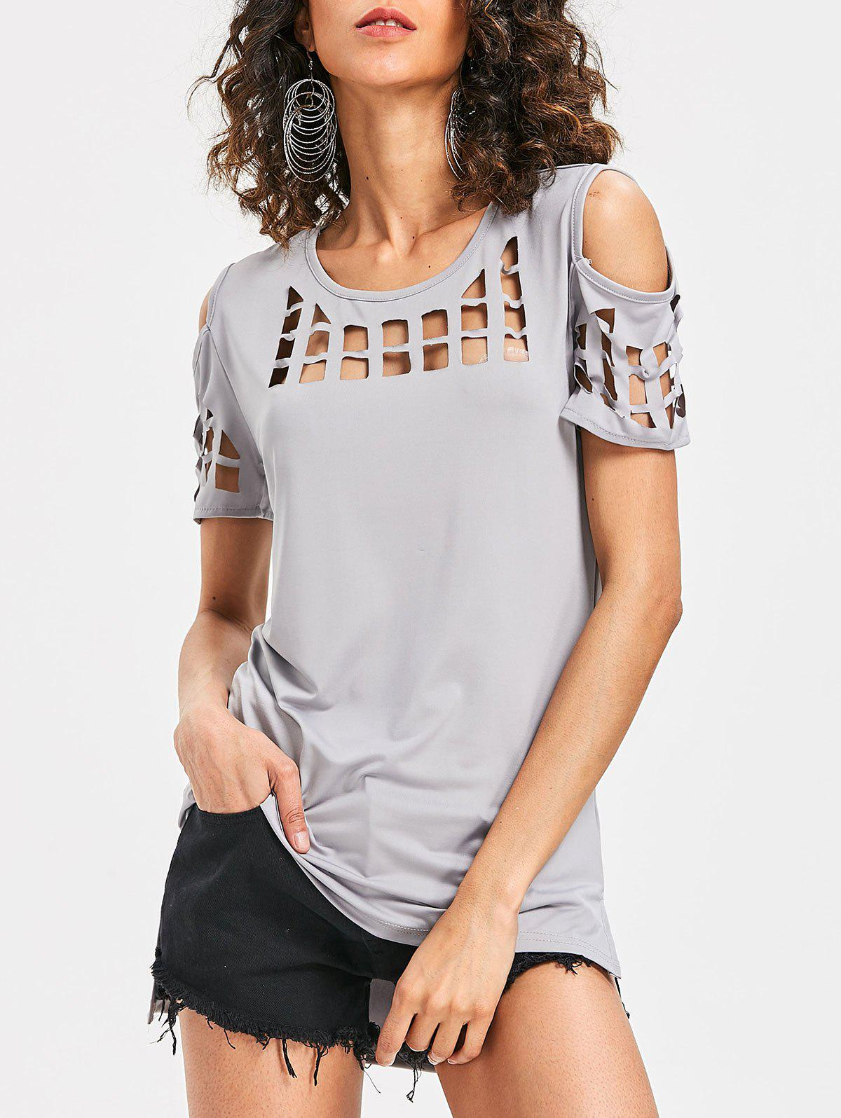 Cage Cut Out High Low Tee - LIGHT GRAY S