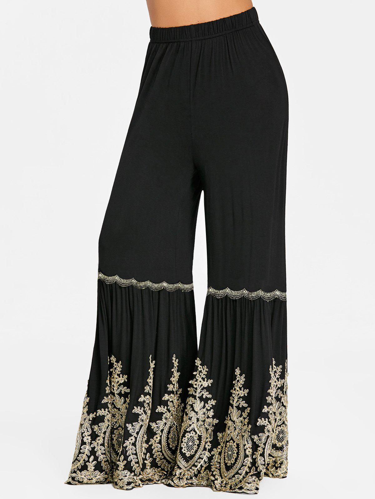 High Waisted Applique Wide Leg Flare Palazzo Pants - BLACK L