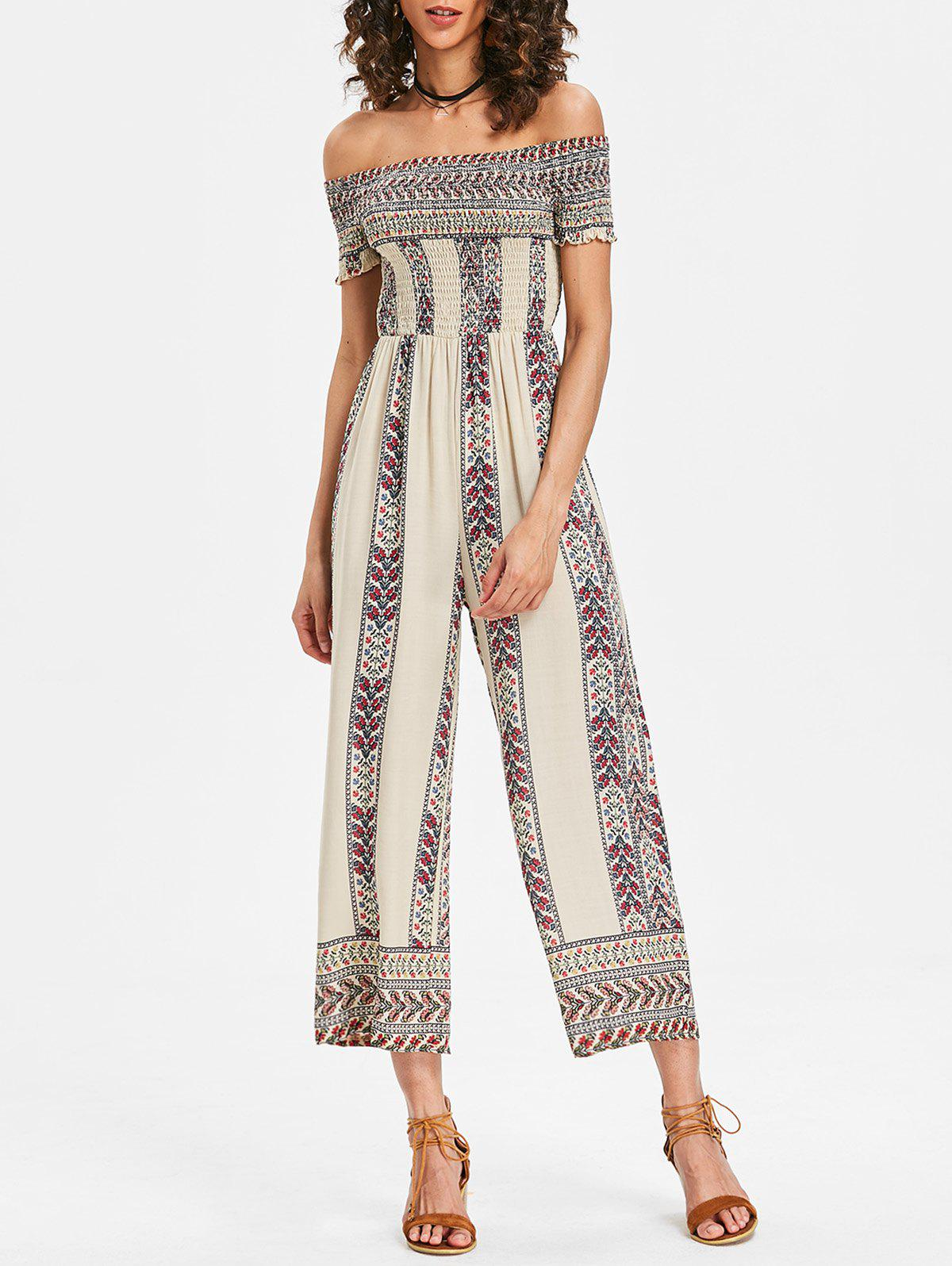 Off Shoulder Bohemian Jumpsuit - WHITE XL
