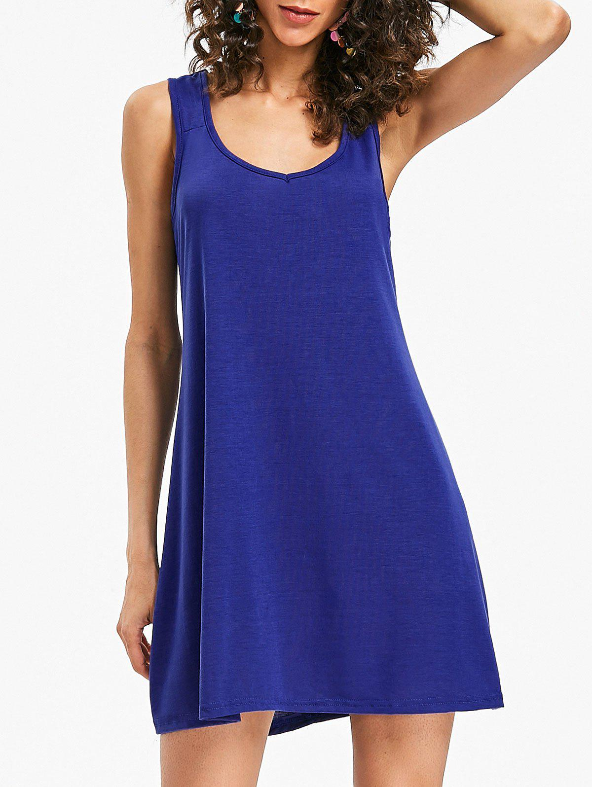 Mini Sleeveless Shift Dress - SAPPHIRE BLUE S