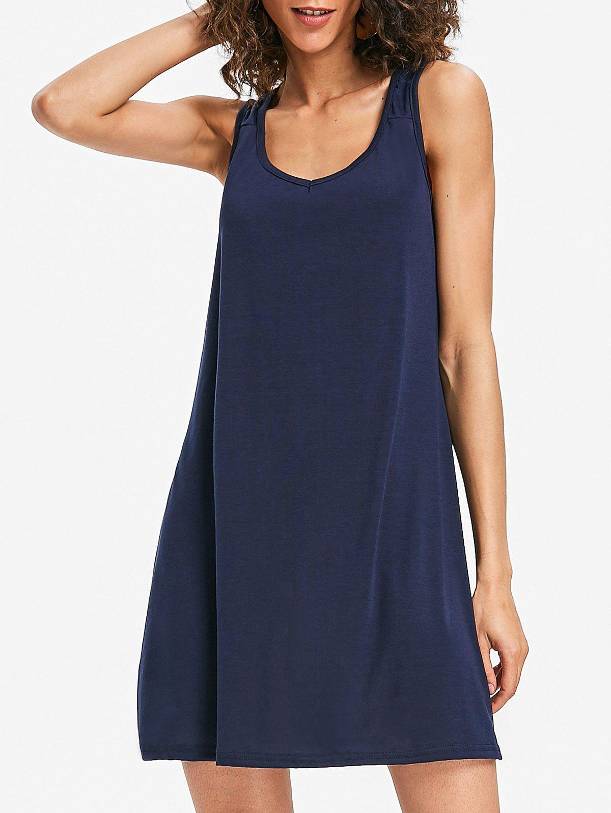 Mini Sleeveless Shift Dress - MIDNIGHT BLUE XL