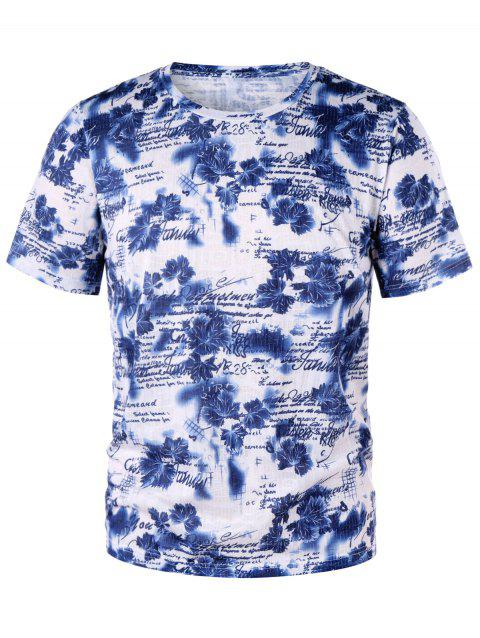 Letter Tiny Floral Crew Neck T-shirt - BLUE M