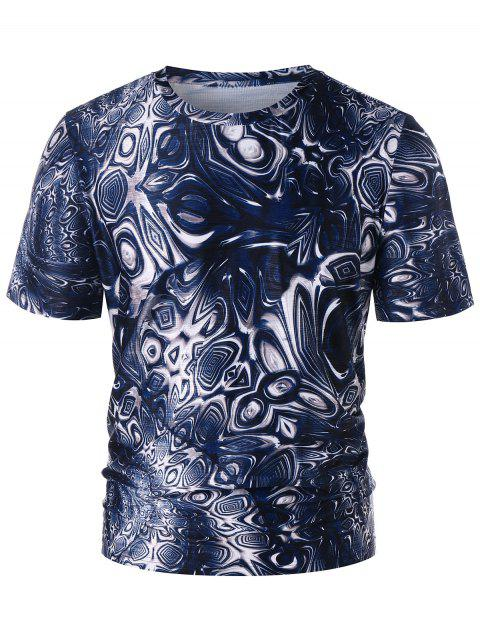 Trippy Pattern Crew Neck T-shirt - DEEP BLUE M